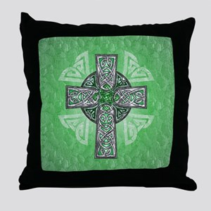 Traditional Celtic Cross Green Throw Pillow
