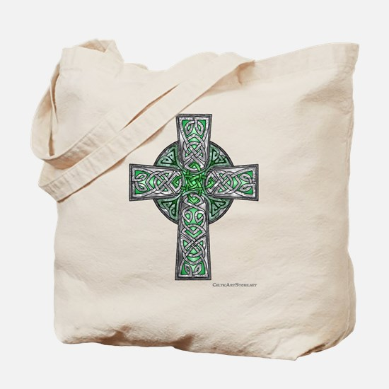 Traditional Celtic Cross Green Tote Bag