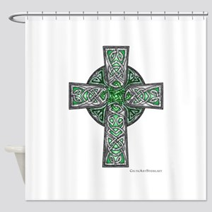 Traditional Celtic Cross Green Shower Curtain