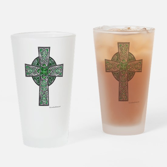 Traditional Celtic Cross Green Drinking Glass