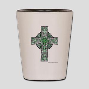 Traditional Celtic Cross Green Shot Glass