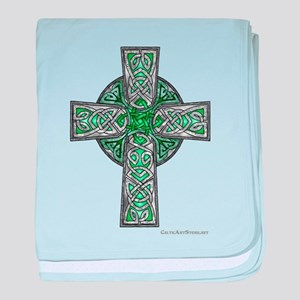Traditional Celtic Cross Green baby blanket
