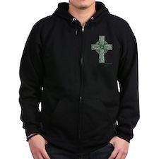 Traditional Celtic Cross Green Zip Hoodie