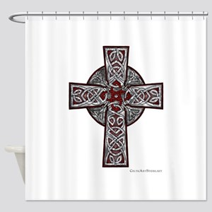 Traditional Celtic Cross Red Shower Curtain