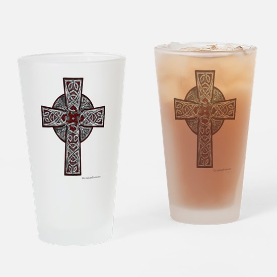 Traditional Celtic Cross Red Drinking Glass