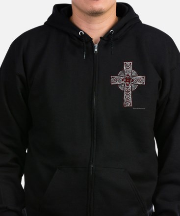 Traditional Celtic Cross Red Zip Hoodie