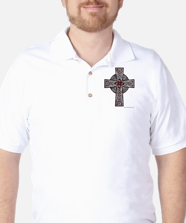 Traditional Celtic Cross Red Golf Shirt