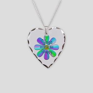 Yoga Happy Necklace Heart Charm