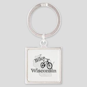 Bike Wisconsin Square Keychain