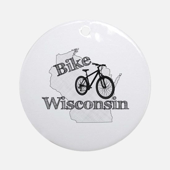 Bike Wisconsin Round Ornament