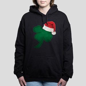 Shamrock with Santa Hat Women's Hooded Sweatshirt