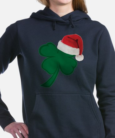 Shamrock with Santa Hat Women's Hooded Sweatshirt