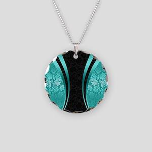 Turquoise and black damasks Necklace Circle Charm