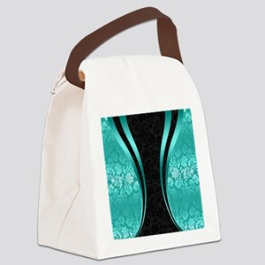 Turquoise and black damasks dynam Canvas Lunch Bag