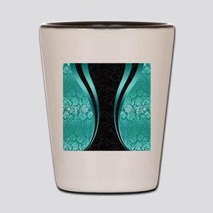 Turquoise and black damasks dynamic geo Shot Glass