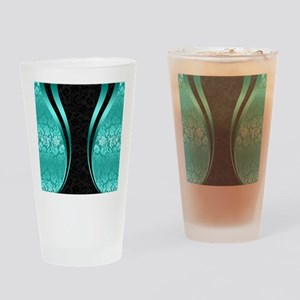 Turquoise and black damasks dynamic Drinking Glass