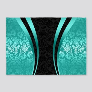Turquoise and black damasks dynamic 5'x7'Area Rug