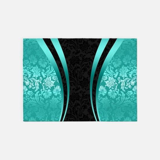 Turquoise and black damasks dynamic 5'x7'Area Rug