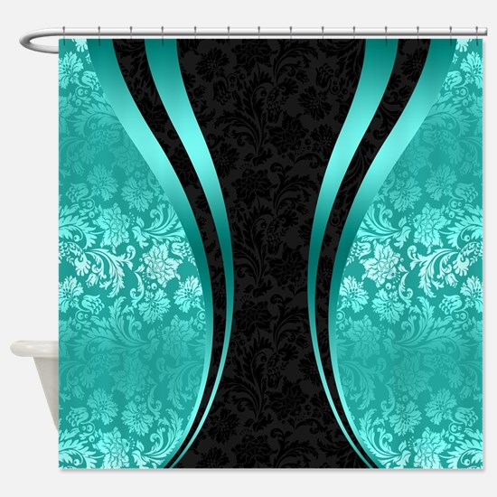Turquoise and black damasks dynamic Shower Curtain