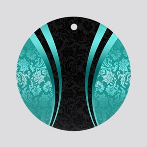 Turquoise and black damasks dynamic Round Ornament