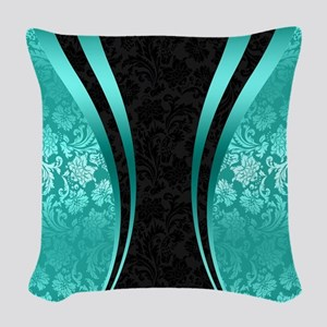 Turquoise and black damasks dy Woven Throw Pillow