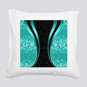 Turquoise and black damasks d Square Canvas Pillow