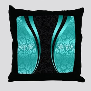 Turquoise and black damasks dynamic g Throw Pillow