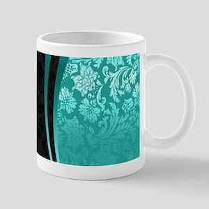 Turquoise and black damasks dynamic geometric Mugs