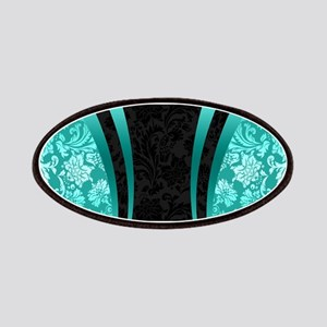 Turquoise and black damasks dynamic geometri Patch