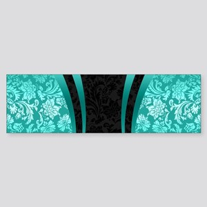 Turquoise and black damasks dynamic Bumper Sticker