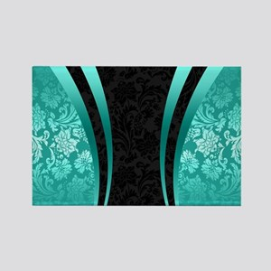 Turquoise and black damasks dynamic geomet Magnets