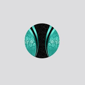 Turquoise and black damasks dynamic ge Mini Button