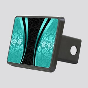 Turquoise and black damask Rectangular Hitch Cover