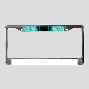 Turquoise and black damasks dy License Plate Frame