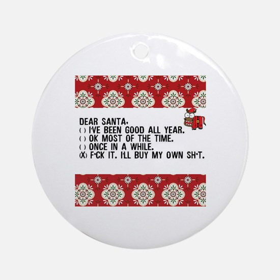 Cute Adult humor christmas Round Ornament