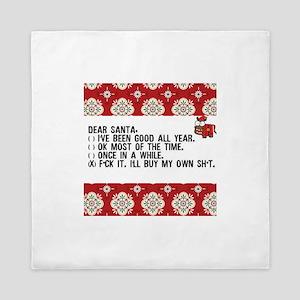 Dear Santa..adult humor Queen Duvet