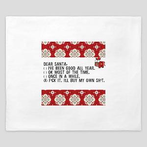 Dear Santa..adult humor King Duvet