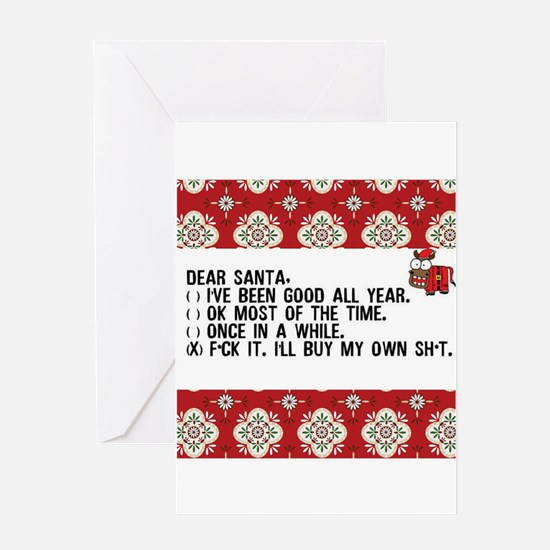 Dear Santa..adult humor Greeting Cards