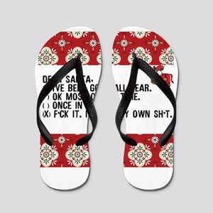 Dear Santa..adult humor Flip Flops