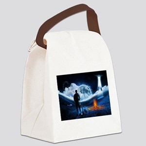 Surreal Cow Abduction Canvas Lunch Bag