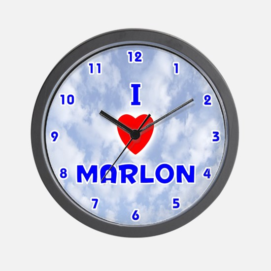 I Love Marlon (Blue) Valentine Wall Clock