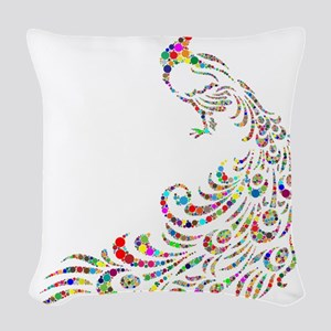 Circle Chromatic Peacock Woven Throw Pillow