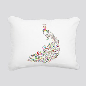 Circle Chromatic Peacock Rectangular Canvas Pillow