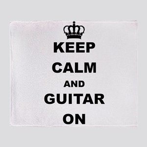 KEEP CALM AND GUITAR ON Throw Blanket