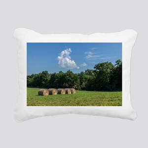 Hay Bales Rectangular Canvas Pillow