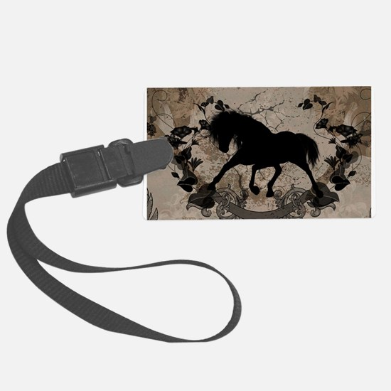 Black horse silhouette Luggage Tag