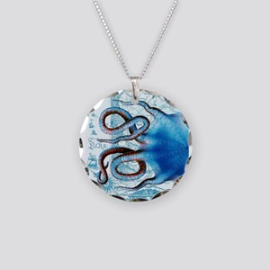 Blue Octopus Tentacles Vinta Necklace Circle Charm