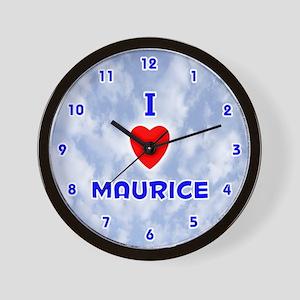 I Love Maurice (Blue) Valentine Wall Clock