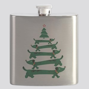 Dachshund Christmas Tree Flask