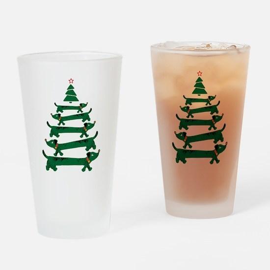 Dachshund Christmas Tree Drinking Glass